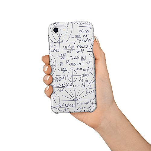 Durable Phone Case for iPhone 7/iPhone 8, Math Formula Curve Function and Trigonometric Function Stylish Phone Shell Shockproof Protective Back Cover with Tempered Glass Screen Protector, -