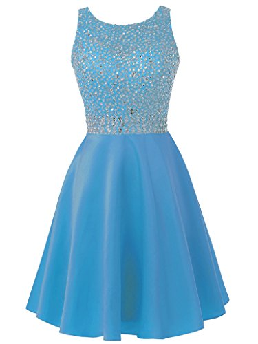 Homecoming Evening Blue Short Women's Dress Gown Solovedress Beaded Gown Satin Prom Dress Party Yq8wx4H