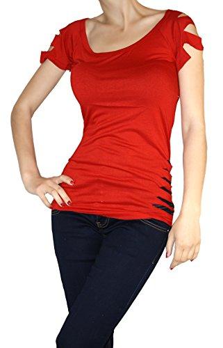Jygles Basic Top Long Tailliertes Freis Straps Kurzarm Fransen Rot