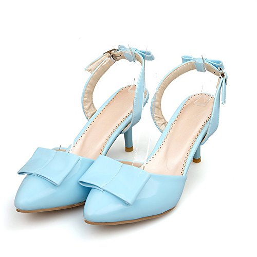 Big Blue Size with Fashion Patent Bowtie LongFengMa Extra Sky Heel High Sandals Women a7Wqxz