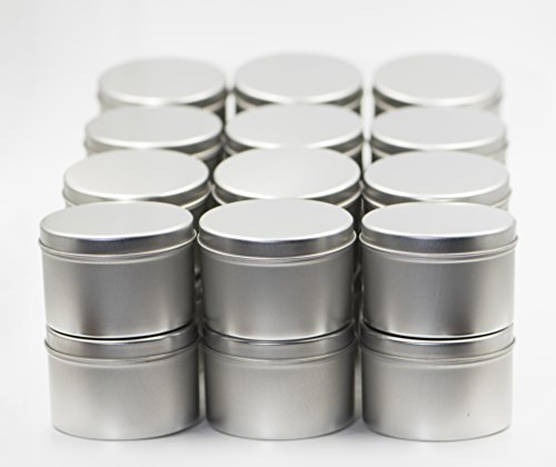 Tin Cans for Candle Making with Lids 8 oz 24 Pack from Omnya, Made with Steel, Round Container Tins for Candles, Spices, & DIY Projects, 8oz Can with Secure Pop-on Lid, Bulk