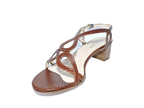 "Aquatalia by Marvin K. Nadine Brown Lizard Snakeskin 2"" Heel Sandals, Open Toe Size 8 M"