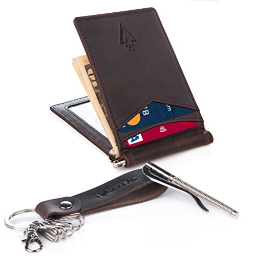 Nattivo Men's Slim RFID Money Clip Card Holder, Leather Keychain included and an Additional Money Clip for an EXTENDED Life of this Stylish Card Holder, with Premium Gift Wrapping