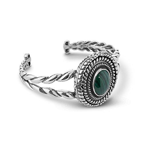 American West Sterling Silver Green Malachite Gemstone Interchangeable Cuff Bracelet Size Large
