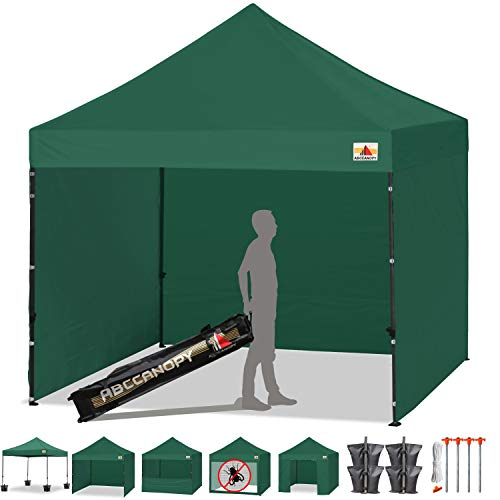 ABCCANOPY Tents Canopy Tent 10 x 10 Pop Up Canopies Commercial Tents Market stall with 4 Removable Sidewalls and Roller Bag Bonus 4 Weight Bags and 10ft Screen Netting and Half Wall,Forest Green