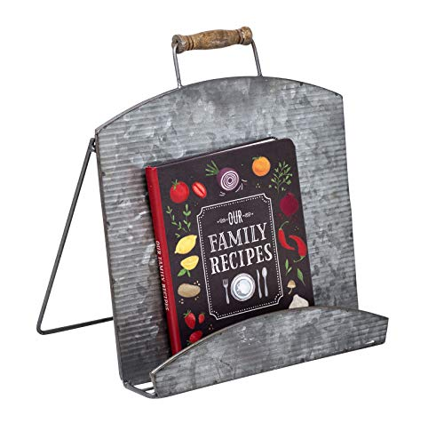Boston Warehouse Urban Farmhouse Industrial Cookbook and Tablet Holder, Galvenized Metal