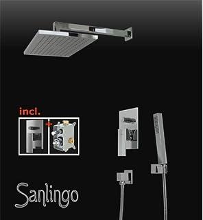 unterputz dusch set komplett handbrause umsteller eckig chrom mit montage box sanlingo - Regenwalddusche Unterputz