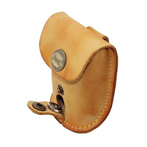 Boshiho鋼球 腰掛け 鋼球収納 磁石付き 本革 スリングショット パチンコ アウトドア レザー 弾弓 二色 黄の商品画像