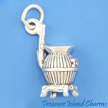 Winter Charm Pot Belly Stove Charm Rural Charm Canada Charm Wood Burning Stove Charm Sterling Silver Charm