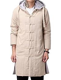 Aishang Men's Vintage Hooded Split Long Wadded Jacket Parka With Drawstring