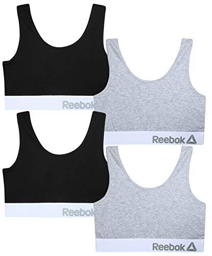 Reebok Women's 4 Pack Cotton Performance Training Bras, Black/Grey, Size Large'