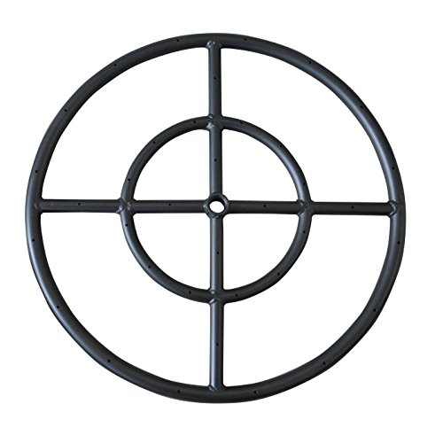 "Stanbroil 12"" Round Fire Pit Burner Ring, Double Ring, Black Steel"