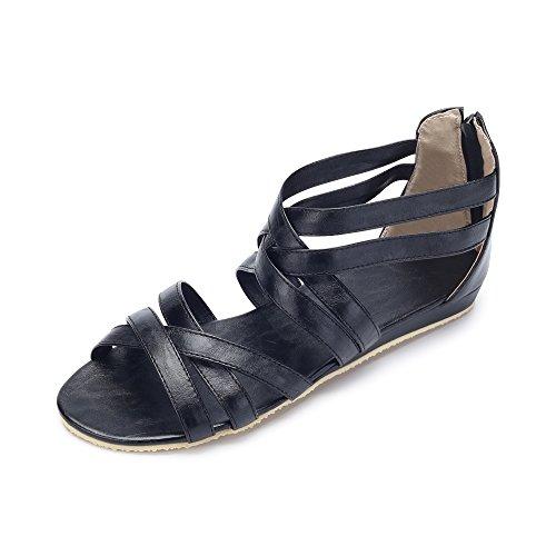 romanas en ocasionales Hueco verano grandes yardas sandalias Negro q5OOwt