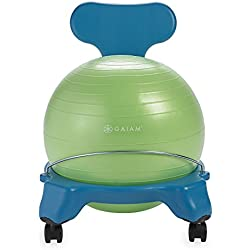 Gaiam Kids Balance Ball Chair - Classic Children's Stability Ball Chair, Child Classroom Desk Seating, Blue/Green