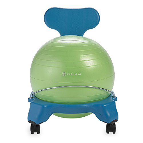 Gaiam Kids Balance Ball Chair - Classic Children's Stability Ball Chair, Child Classroom Desk Seating, Blue/Green