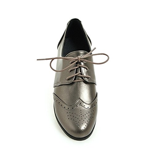 Vintage Hecater up Shoes Perforated Silver Oxford Women's Oxfords Wingtip Lace Flat rgwH0nSgq