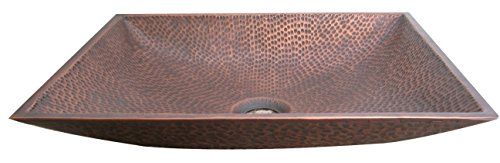 Copper Bathroom Vessel Sink for Top Mount, W/Pop-Up Drain Stopper, Handmade Above Counter Art Basin for Vanity, Rectangular Zen Wash Bowl Sinda V3