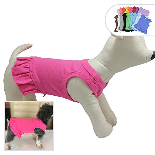 (Pet Clothes Small Dog Clothing Blank Color Sport Dress T-Shirts Tee Dresses Tanks Top for Small Size Female Dogs Summer Spring Pet Costumes 100% Cotton (XS,)