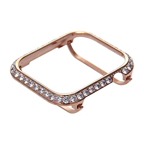 Callancity Compatible Bling Apple Watch Bumper Metal Rhinestone Crystal 3.0 Big Diamond Jewelry Bezel Case face Cover Compatible Apple Watch Series 4 44mm (Rose Gold White Crystals) ()