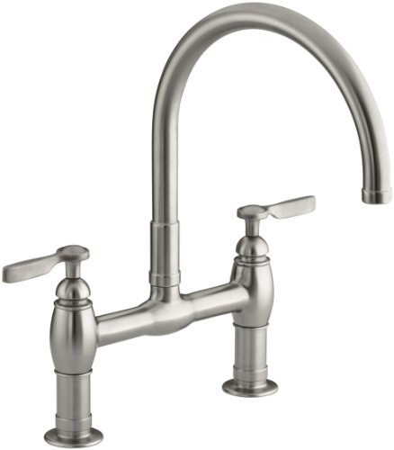 KOHLER K-6130-4-VS Parq Deck-Mount Kitchen Bridge Faucet, Vibrant Stainless