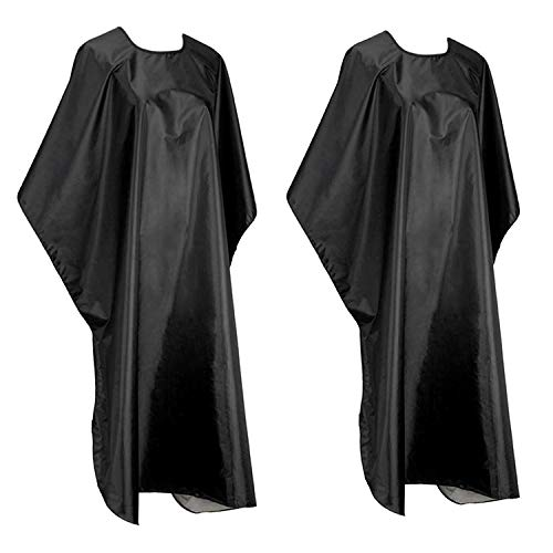 Mxcudu Hair Cutting Cape Hair Coloring Cloak Dye Beard Apron Waterproof Hairdressing Smock Cloth Cover Barbers Cape Black (2Pack) (Black)