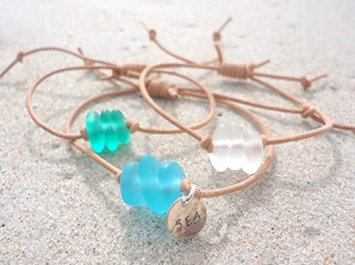 Sea Glass Leather Adjustable Bracelet- Beach Glass Bangle-Handcrafted Bead Bracelet ()