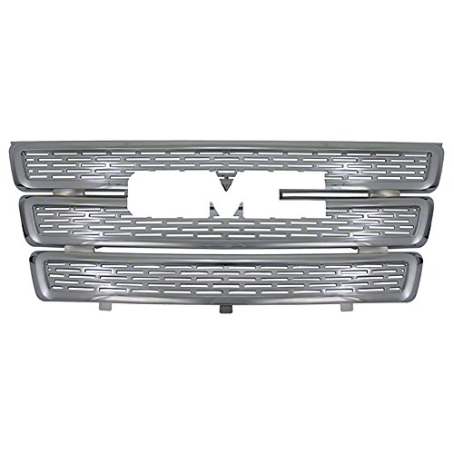 Front Grille Inserts Overlay Trim for 2010-2015 GMC Terrain -Chrome Snap On Mesh Screen - Car, Truck, SUV, Van & Jeep Replacement Accessories
