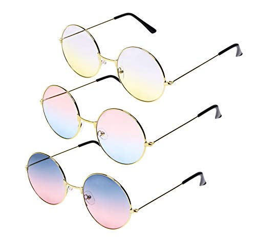 Penta Angel 3Pcs Colored Round Retro Hippie Sunglasses Vintage 60's 70's Style John Lennon Circle Glasses for Men Women Kids Party Favors Dressing Costume Accessory]()