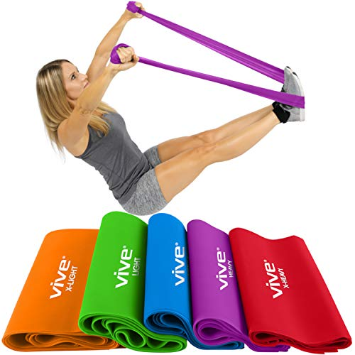 (Vive Flat Resistance Band (5 Piece Set) - Elastic Exercise Equipment - Straight Stretching Fitness Training for Full Body, Leg, Crossfit, PT, Yoga Stretch, Rehab Therapy - Home Gym for Men & Women)