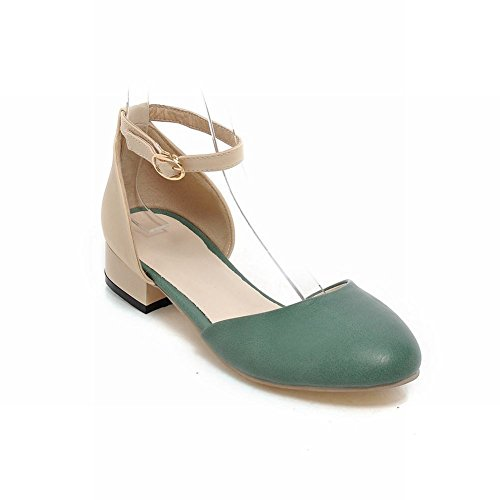 Carolbar Chic Womens Blandade Färger Ankel-rem Charm Nåd Låg Klack Mary Janes Sandaler Grönt