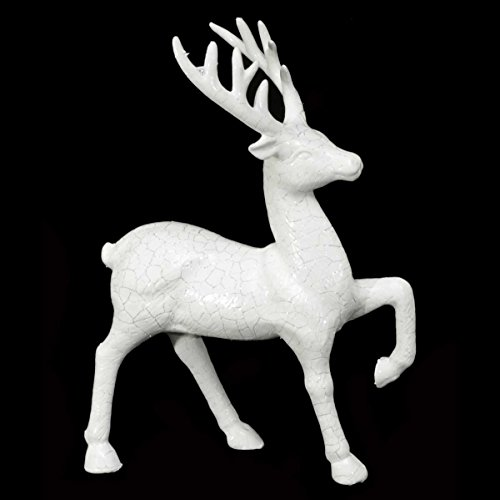 Prancing Deer (WHITE PRANCING DEER WITH CRACKLE FINISH 6