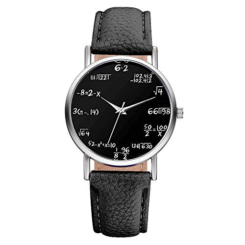 Souarts Lover Girl Artificial Leather Band Math Formula Dial Wrist Quartz Analog Watch 24cm (Black 3)
