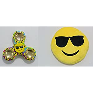 Emoji Fidget Spinner & Mini Emoji Plush Combo - Cool Sunglasses Emoji - Perfect For Skin Picking, ADD, ADHD, Anxiety and Stress Relief - Prime Ready and Shipped by Amazon