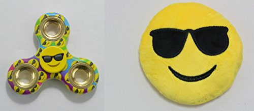 Emoji Fidget Spinner & Mini Emoji Plush Combo - Cool Sunglasses Emoji - Perfect For Skin Picking, ADD, ADHD, Anxiety and Stress Relief - Prime Ready and Shipped by - Ebay Sunglasses In