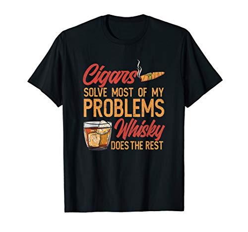 Mens Funny Cigar Smoker Whisky T-Shirt   Cigar Smoking Fans Gift