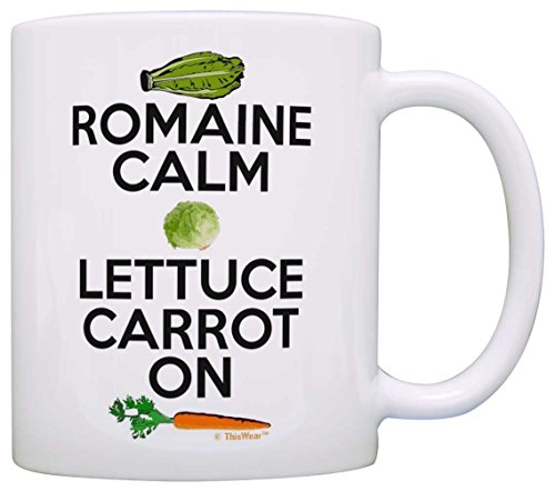 Cooking Gifts Romain Calm Lettuce Carrot On Keep Calm Vegan Gift Coffee Mug Tea Cup White