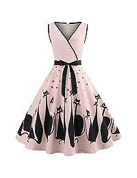 HEFEITONG Women Cat Printed V Neck Sleeveless Evening Party Dress Retro Dress