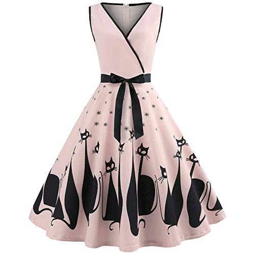 UONQD 2019d Women Cat Printed V Neck Sleeveless Evening Party Swing Retro Dress (Medium,Pink)
