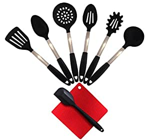 **SUPER SUMMER DEAL** 8 Piece Stainless Steel & Silicone Kitchen Utensil Set, Heat Resistant, BPA Free, Odor Resistant, Food Grade - Professional Top Quality Cooking Set - Black