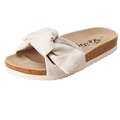 PepStep Slide Sandals for Women/Cork Sole/Canvas Knot Bow/Womens Slides/Sandals for Women(8.5, Sand) ()