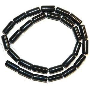 NG2512 Black Obsidian 14mm - 16mm Round Tube Natural Gemstone Beads 15