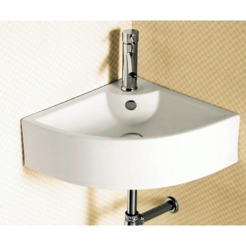 Caracalla CA4053-One Hole-637509839499 Ceramic Corner and Wall Mounted Washbasin, White -