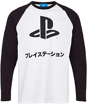 Sony Playstation - Japonés Texto Ringer - Oficial Manga Larga para Hombre Camiseta Blanca - Blanco, L: Amazon.es: Ropa y accesorios