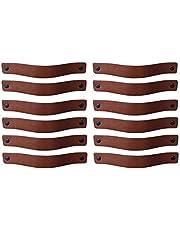 Brute Strength - Leren Handgrepen - Cognac - 12 stuks - 20 x 2,5 cm - incl. 3 kleuren schroeven per leren handvat voor keukenkastjes - badkamer – kasten