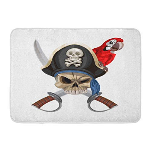 Emvency Bath Mat Crossbones Black Flag Jolly Roger in Pirate Hat Sabers Red Parrot White Skull Captain Bathroom Decor Rug 16