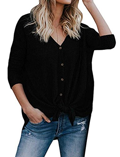 Evening Sweater Top - Halife Womens Loose Long Sleeve V Neck Button Down Henley Shirts Tie Front Knit Tunic Blouse Top