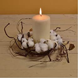 WHD Cotton Boll Ball Candle Ring Holder Rustic Primitive Country Farmhouse Home Decor Decorations