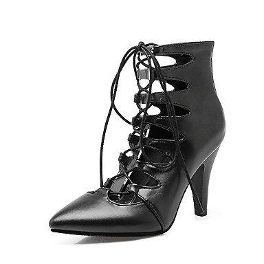 LvYuan Mujer-Tacón Cono-Zapatos del club-Sandalias-Informal-Semicuero-Negro Rojo Beige Red