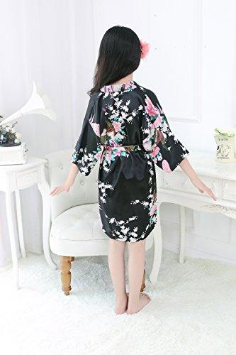 Peacock Silk Kimono Robe Bridesmaid Robes / Wedding Robe/ Nightgown for Child Black