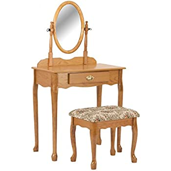 Amazon Com Oak Wood Vanity With Table Amp Bench Set